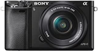 Sony 索尼 A6000可互换镜头数码相机,带有SELP1650镜头套件-黑色(24.3MP)