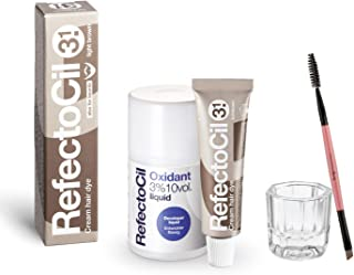 RefectoCil 浅棕色*套装,包括 REFECTOCIL *剂 0.5 盎司(15 毫升),液体显影剂-氧化剂 3%,混合碗和自然睫毛膏刷,适用于专业毛发、胡须和胡子