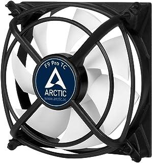 ARCTIC F9 Pro TC – 温度控制 92 毫米机箱风扇,带振动吸附,温度传感器调节 RPM,500-2000 转/分钟 – 黑色/白色