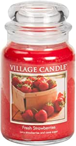 Village Candle 26 oz Glass Jar Scented Candle, Large, Fresh Strawberries
