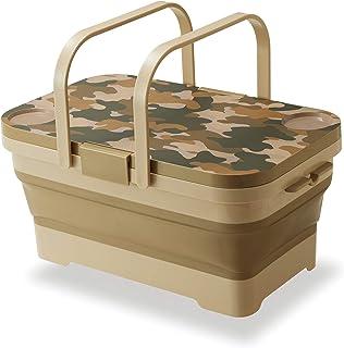 可折叠野餐篮 2 或 4 个,带盖子,迷彩托盘桌,4 加仑 / 15L 户外露营水槽,带排水槽,适用于野餐或海滩、露营、徒步、狩猎、钓鱼和家庭