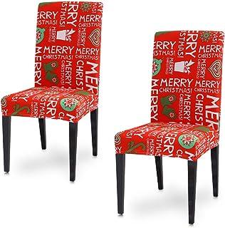 SUNTRADE 2 件套印花餐椅套,宴会椅座椅保护套,适用于圣诞节、假日家庭派对、酒店、婚礼仪式(A)