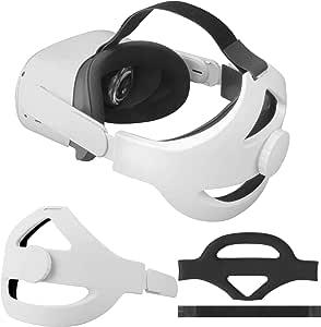 Eyglo 可调节精英表带适用于 Oculus Quest 2 头带,增强支撑,减少头部压力,舒适触感(白色适合 Quest 2)