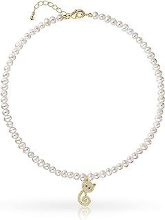 Gcloudry 猫吊坠项链珍珠链巴洛克养殖小猫颈圈时尚可爱珠宝女孩