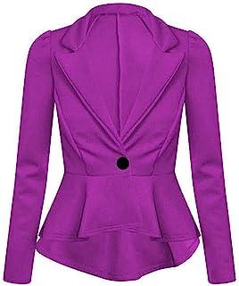 新款女式纯色荷叶边褶边夹克女士长袖定制外套加大码