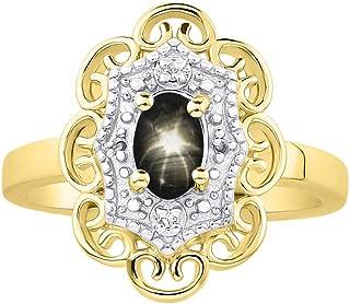 RYLOS 花卉图案戒指 椭圆形宝石和纯正闪亮钻石 14K 黄金镀银 .925-6X4MM 彩色石头诞生石戒指 Black Star