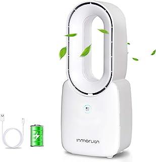 办公桌风扇,CONBOLA 11.8 英寸便携式无叶风扇小桌面风扇空气冷却器,可充电触摸控制微风静音风扇,适用于办公室卧室