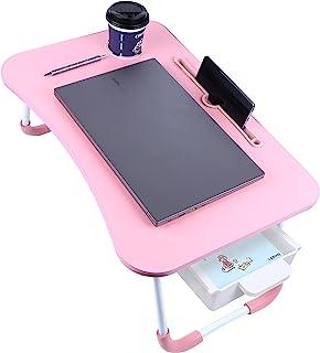 XIDAJIE 可折叠笔记本电脑桌 便携式笔记本电脑托盘桌 带储物抽屉 / 杯架 多功能折叠站立桌 适合吃饭、工作、游戏和写作