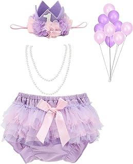 WELROG 女婴蛋糕粉碎服装 - 蓬蓬裙开朗妈咪包头带珍珠项链 适合*个生日佩戴