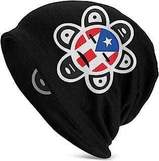 针织无檐小便帽波多黎各国旗太阳部落Sol Taino 骷髅帽旅行时尚保暖无檐小便帽男式黑色