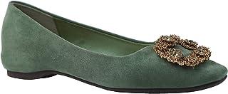 C.PARAVANO 平底鞋女式麂皮平底搭扣一脚蹬圆头芭蕾舞鞋