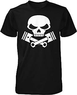 NOFO Clothing Co 骷髅和活塞十字骨,摩托车引擎男式 T 恤