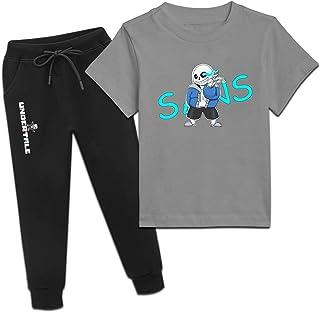 Un-der-Tale Sans 男孩运动服套装 - 短袖 T 恤和慢跑运动裤 2 件套套装