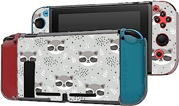 可Dockable 保护套兼容 Nintendo Switch 控制台和 Joy-Con 控制器,图案(花朵和圆点背景上的卡通浣熊)保护套带钢化玻璃屏幕