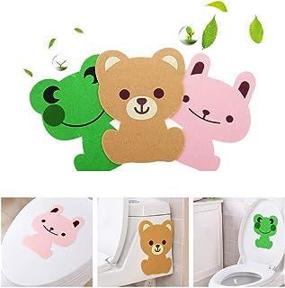 浴室马桶盖贴花*自粘*贴 卡通动物图案墙贴海报家居装饰海报青蛙兔子熊