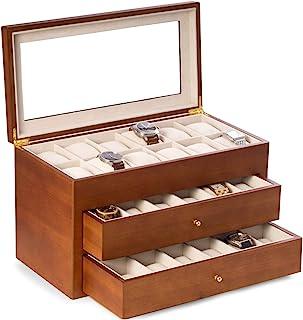 Bey-Berk 哑光黑/樱桃木 36 手表盒