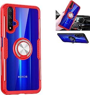 华为荣耀 20 手机壳,360°旋转环支架保护壳,TPU PC 减震双重保护盖兼容华为 Nova 5T 保护套(红色/银色)