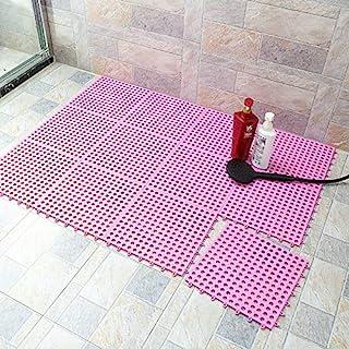 橡胶地板紫红色 10 件互锁柔软 PVC 防滑瓷砖拼接防水垫浴室淋浴厕所地板瓷砖 29.8 厘米 x 29.8 厘米垫薄型(紫红色)