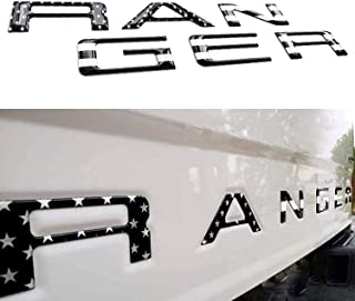 Ranger 徽章后挡板插入字母兼容 Ranger 2019 2020 2021 配件后镶嵌徽章贴花(黑色美国国旗)