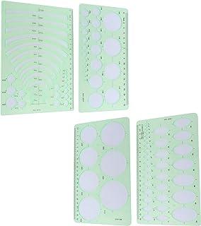 Semetall 绘图模板尺子 4 件/套几何绘图模板测量尺子 多功能测量尺,用于学习、设计建筑学校办公用品(透明*)