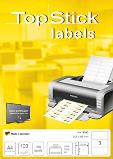 TopStick 自粘多功能标签,A4 张标签,300 张激光和喷墨打印机标签,大号,200 x 95 毫米 (8793)