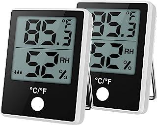 ORIA 数字湿度监测温度计 数字湿度计 室内温度计 湿度计 迷你带温度和湿度功能 精确湿度监测 适用于家庭、办公室、温室(2 件装)