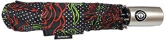 Totes NeverWet Technology自动开合雨伞,黑色带红玫瑰色43英寸(约109.2厘米)弧雨伞,