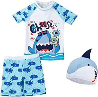 幼儿男婴两件套泳装儿童*泳衣套装 带帽子 UPF 50+
