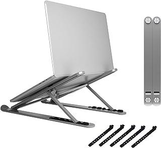 Zylpha 便携式笔记本电脑支架适用于 10 至 17.3 英寸的笔记本电脑,通用可调节笔记本电脑支架,可折叠紧凑的笔记本电脑支架,适用于旅行,采用防滑技术(灰色)