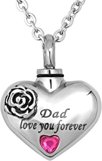 TGLS 玫瑰花火葬缸首饰 人类灰烬 心形 爱你 永远纪念项链吊坠 适合家庭