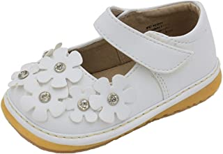 White with * Flowers Mary Jane Toddler Girl Squeaky Shoes
