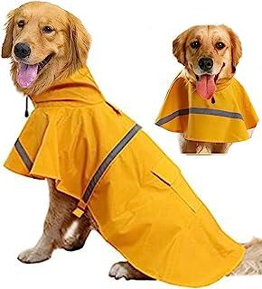 狗狗雨衣宠物防水连帽斗篷,可调节魔术贴和反光带,黄色轻质防雨夹克