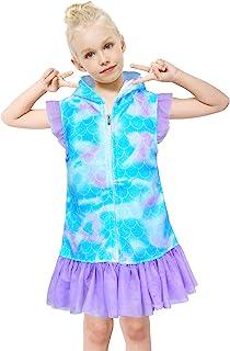 女孩连帽卫衣布游泳罩衫泳衣罩衫沙滩薄纱荷叶边连衣裙适合 4-9 岁儿童