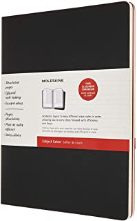 Moleskine - Cahier Journal Subject,2套笔记本用于笔记 - 纸板封面,可见刺绣 - XXL 21.6 x 27.9 厘米 - 黑色和蔓越莓红,160页