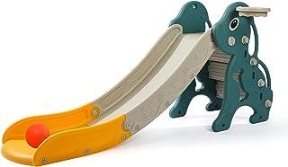 CuFun 儿童滑梯,幼儿游乐场滑梯攀岩器,超长滑梯斜坡带篮球圈,适用于室内室外后院使用(蓝色狗)