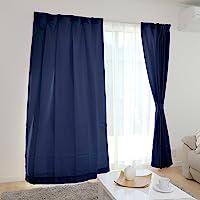Iris 爱丽思 窗帘 可立即使用的4件套(带蕾丝窗帘) 可洗涤 可用洗衣机清洗 宽100cm×长135cm 藏青色