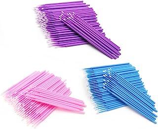300 件一次性微型涂抹刷化妆和个人护理工具,用于延长睫毛(粉色蓝色紫色)