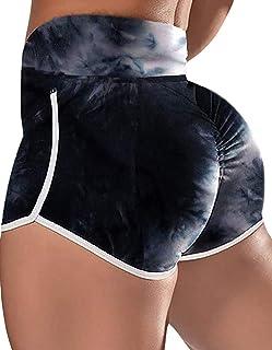 FLORATA 女式高腰提臀瑜伽短裤运动健身房褶饰锻炼跑步热紧身裤