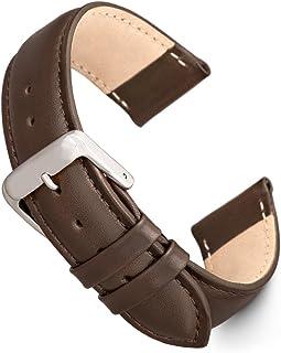 Speidel 真皮表带黑色和棕色缝合小牛皮替换表带,不锈钢金属扣,表带适合大多数手表品牌(16mm-24mm)