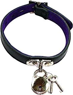 Slap 皮革大领带挂锁黑色皮革与紫色麂皮衬里