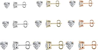 Savlano 9 对白色、黄色和玫瑰色 14K 镀金方晶锆石耳钉,4 毫米、6 毫米和 8 毫米适合女士、女孩和男士