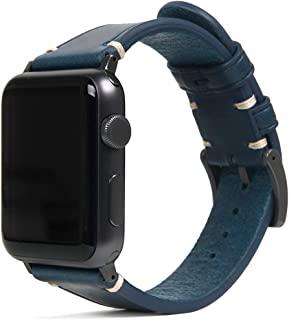 SLG Design Apple Watch 表带 44 毫米 42 毫米用 真皮 Italian Buttero Leather Strap 蓝色 (苹果手表表带 意大利表带) 意大利植鞣革 更换表带series 5/4/3/2/1 适用 S...