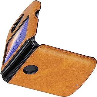 Cresee 兼容摩托罗拉 Razr 5G (Razr 2nd Gen) 2020 手机壳,PU 皮革后盖+硬 PC 保护壳薄款手机壳,适用于 Moto Razr 5G
