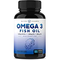 NutraChamps Omega 3鱼油-EPA 1296mg,DHA 864mg脂肪酸-Omega-3 Burple…