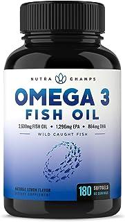 NutraChamps Omega 3鱼油-EPA 1296mg,DHA 864mg脂肪酸-Omega-3 Burpless胶囊-高浓度,3600mg,180粒胶囊