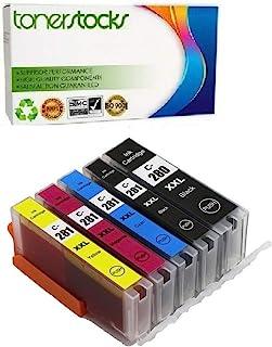 Tonerstocks 5 件装兼容替换件适用于 PGI-280 CLI-281、PGI-280XL CLI-281XL 墨盒与 TR7520 TR8520 TS6120 TS6220 TS9521C TS702 打印机(1PGBK 1BK 1...