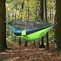 cjc 露营吊床带网,适合户外旅行,优质降落伞面料吊床,适用于徒步,海滩,背包,后院,便携,易组装,*大承重 300 磅