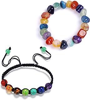 2 件/套 7 脉轮天然石材弹力手链套装*水晶能量平衡瑜伽不规则串珠编织绳佛陀女士男士祈祷首饰