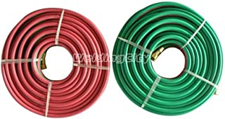 WeldingCity Grade-T 双软管 0.64 cm B-B 配件氧气/丙烷焊接和切割 25-foot Hose-OxyAce-T-025x25-1PK