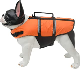 Lovelonglong 宠物服装狗狗救生衣救生衣大中小型犬游泳*划船外套狗狗游泳保护外套 橙色 XS (Rec.5-8 Pounds)